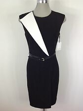 Calvin Klein NEW Elegant Dress Black/White Color Block Faux Wrap