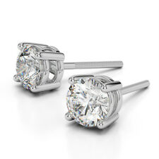 $3235 Huge 1.0 Carat Round Brilliant Natural Earth Mined Diamond Gold Earrings