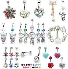 1 x Dangly Belly Bars Crystal Dangle Navel Bar Belly Rings Dangly Piercings NEW