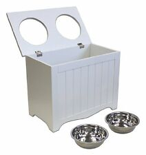 Tall Large Dog Double Feeder Bowls Food Storage Raised Pet Feeding With SS Bowls