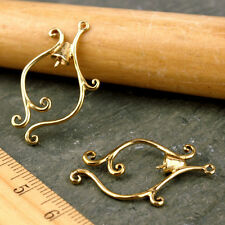 4pcs Solid Brass Vine Bell Filigree Earing Charm 30x17mm be09 PICK