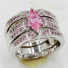 Marquise Cut Pink Sapphrie 14KT White Gold GF 3-in-1 Wedding Ring Set Size 5-11