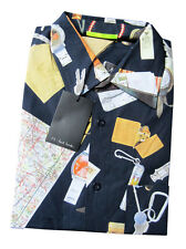 Paul Smith PS Navy Short Sleeve Travel Map shirt in sizes M or L