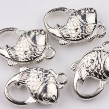 5/10pcs Silver Plated Fish Metal Lobster Clasp Hook Jewelry Connector 20x14mm
