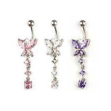 1PC Crystal Butterfly Dangle Ball Barbell Bar Belly Button Navel Ring Stylish