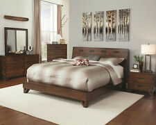 NEW 4PC AVALON DARK AMBER COFFEE FINISH WOOD QUEEN KING LOW PROFILE BEDROOM SET