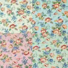 Pastel Flower Rose Heads Petal Leaves Polycotton Fabric