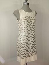 Calvin Klein  NEW Modern Ivory/Gold Elegant Silk Dress