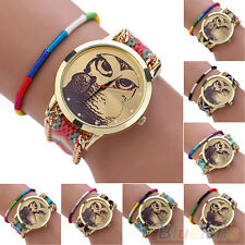 Women's Nobby Owl Dial DIY Knitting Strap Analog Quartz Bracelet Wrist Watch