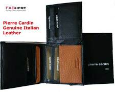 Pierre Cardin Mens Genuine Italian Leather Trifold Wallet Black Classic