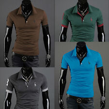 New Mens Stylish Casual Slim Fit Short Sleeve Polo Shirt T-shirts Tee Tops bbb