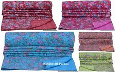 Indian Reversible Kantha Quilt Handmade Bedspread Twin Size Throw Floral Print