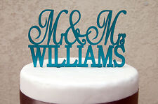 Onorevole & Mrs WEDDING CAKE TOPPER Moderna Personalizzata Partito Decor Typography LASERCUT