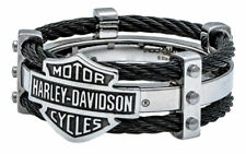 Harley-Davidson Men's Ring, Bar & Shield Logo Double Steel Cable Band HSR0022