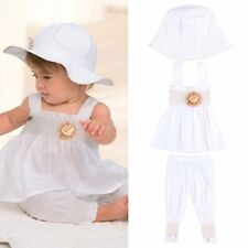 Kids Baby Girl White 3pcs Ruffle Dress + Pants + Hat Set Outfit Costume Clothes