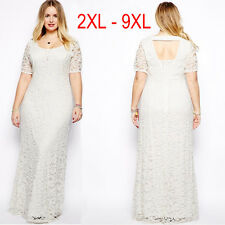 Women Lady Lace Oversize Short Sleeves Long Party Evening Gown Dress Plus Size
