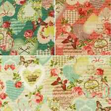 Vintage Collage Hearts Bows Butterflies Roses 100% Japanese Cotton Linen Fabric