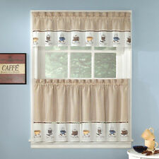 Embroidered Coffee Java Espresso Kitchen Curtains Choice Tiers or Valance