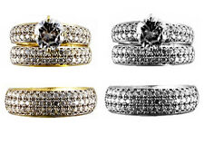 14kt Yellow/White Gold Round Simulated CZ His & Hers Bridal Band Trio Set Ring