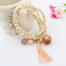 Bohemia Tassel Stretch Multilayer Bracelet Resin Beaded Gold Plated Bangle