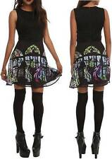 L new Disney MALEFICENT punk gothic MINI SLEEPING BEAUTY stained glass DRESS