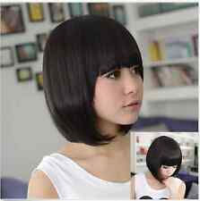 Womens Fashion Short Straight BoB Hair Full Bangs Cosplay Costume Party Wig Wigs