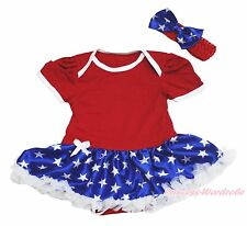 4th July Plain Red Bodysuit Girl Patriotic Star Baby Dress Outfit Set NB-18Month