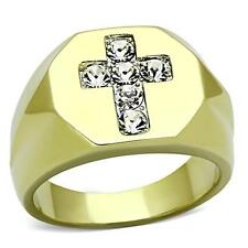 Men's Gold Plate Stainless Steel Cross Round Brilliant Cut cz Ring SZ 8-13