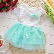 Summer Princess Sweet Kids Girl Lace Bow Pleated Layered Tutu Dress S/M/L/XL