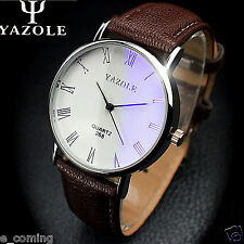 2015 HOT GIFT Luxury UNISEX MENS WATCHES Faux Leather WATCH Analog Watch Brown