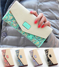 New Women Leather Wallet Envelope Purse Card Holder Mobile Bag long zip Handbag
