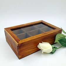 Wooden Tea Storage Box Organizer Container with Glass Lid - 6 Compartments