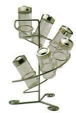 Royal Cuisine 6 Bottle Chrome Spice Rack & 6 Glass Jars