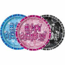 """8 Pink Blue Black Sparkle Happy Birthday Party Paper 9"""" Lunch Plates"""