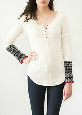 NWT Free People Alpine Cuff Henley Thermal Top Shirt  IVORY  M or L