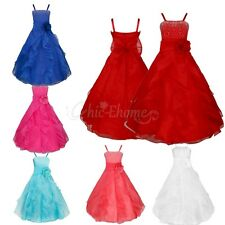 Girls Flower Bridesmaid Party Princess Prom Wedding Christening Dress Sequins