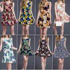 Korean Womens Chiffon Dress Sleeveless Print Party Cocktail Short Mini Dress A71