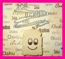 Large Happy Emo Toast Silver Plated Kitsch Kawaii Funky Necklace Pendant*US MADE