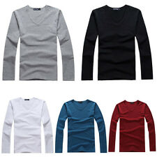New Men Fit Long Sleeve V Neck Casual Shirt Top T-Shirt Blouse 6Colors