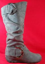 NEW Girl's Youth SODA BELLA Gray Zip Buckles Fashion Tall Casual/Dress Boots