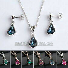 Fashion Simulated Amethys Sapphire Necklace Jewelry Set 18KGP Crystal Rhinestone