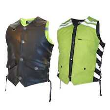 Missing Link Men's G2 D.O.C. Reversible Leather Safety Vest Hi-Vis Green. G2RVMG