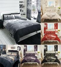 Modern Printed 4Pcs Complete Duvet Cover +Fitted Sheet Pillow Quilt Case Bed Set