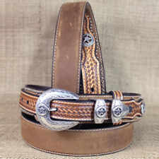 WESTERN NOCONA LEATHER RANGER STAR CONCHO BROWN MENS BELT 32-46 INCHES