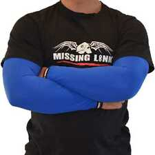 Missing Link SPF 50 Solid Blue ArmPro Tattoo Compression Sleeves - APBL