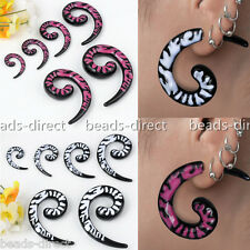 """2pc 6g-1/2"""" Tribal Resin Snail Spiral Taper Ear Tunnels Plugs Expander Stretcher"""