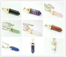 Natural Quartz Crystal Healing Point Chakra Gold Gemstone Pendant Reiki Necklace