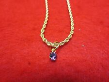 "14 KT GOLD PLATED 10 1/2"" 2.5mm ROPE CHAIN ANKLET W/ AUSTRIAN CRYSTAL BIRTHSTONE"