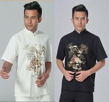 Black white Chinese Men's Linen dragon Kung Fu Shirt Tops Sz:S M L XL XXL