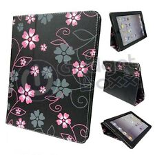 FLOWER BLACK PINK AND GREY DESIGN PU LEATHER CASE COVER FOR  APPLE IPAD MINI 2